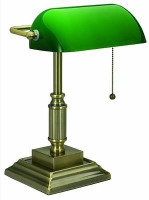 Antique Bankers Lamp Desk Glass Shade Green Student Piano Table Light Adjustable