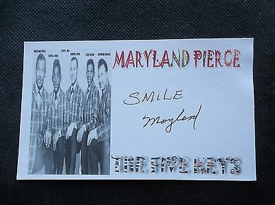 """Maryland Pierce """"the Five Keys"""" Autographed 3X5 Inch Index Card"""