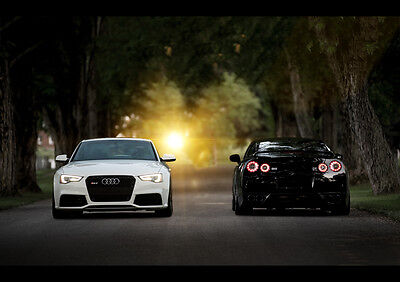 Audi Rs5 Nissan Gtr R35 New A1 Canvas Giclee Art Print Poster Framed