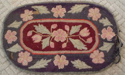 "Antique Rug Vintage Primitive Worn Frayed Floral Wool Hooked As Found 37"" x 22"""