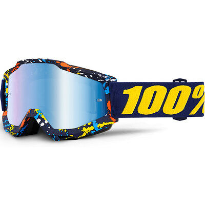 100% Percent Mx NEW Accuri Pollok Dirt Bike Blue Tinted Motocross Goggles