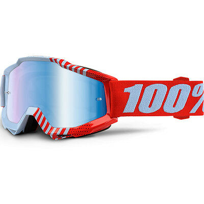 100% Percent Mx NEW Accuri Cup Coy Red Dirt Bike Blue Tinted Motocross Goggles