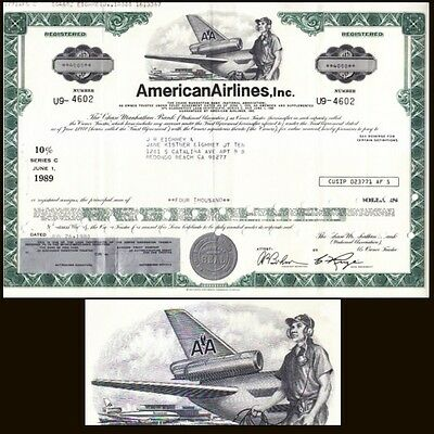 American Airlines 1980 Stock $4000 Bond Certificate