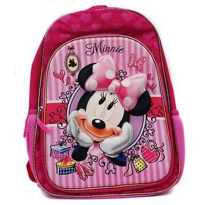 "CUTE Disney Minnie Mouse  Large  16"" 3D Graphic Backpack School Nursery Pink"