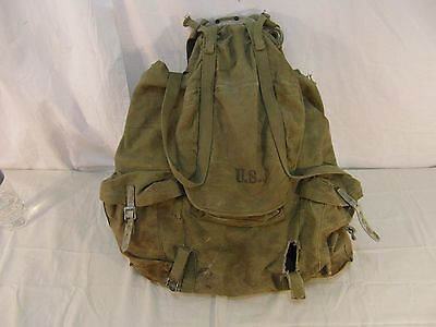 Vintage ORIGINAL WWII WW2 1942 US ARMY BACKPACK W STEEL FRAME Meese 31776