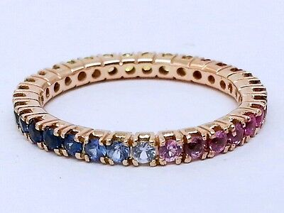 R122 Genuine 9ct Rose Gold Natural Rainbow Sapphire FULL Eternity Ring size 7