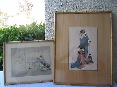 Japanese Antique Woodblock/Rice Paper 2  Paintings With Frame