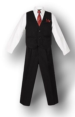 Black w/ Pinstripe - Boys Vest Suit, White Shirt & Tie - Free Shipping