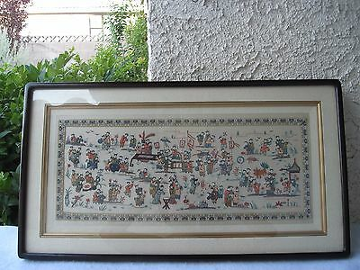 Chinese Antique Silk Embroidered 100 Happy Children Playing W/ Frame