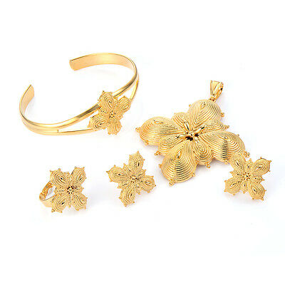 Womens Butterfly Ethiopian Bangle African Jewelry Sets Gold Filled