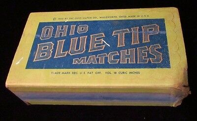 Vtg 1955 Ohio Blue Tip Matches Match Paper Box RARE Country Store Wadsworth Ohio