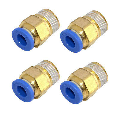"""4Pcs Male 1/4"""" - 8mm Straight Push in Fitting Pneumatic Push to Connect Air BYWG"""