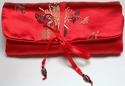 Asian Inspired Brocade Floral Padded Jewelry Roll -Up Travel Pouch Organizer