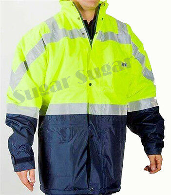 HI VIS SAFETY ALL WEATHER WATERPROOF WORKWEAR / FLYING JACKET yellow ~ 4XL