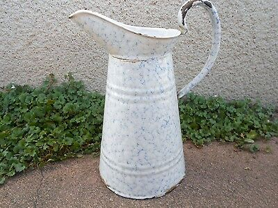 French Antique Enamelware BLUE VEIN Body PITCHER Water JUG
