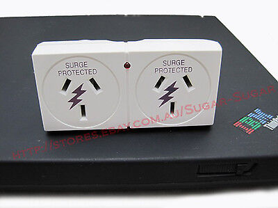 - New - Double Power Adaptor SURGE Protection with LED Indicator - Computer, TV