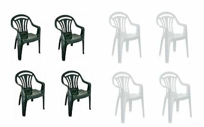 Plastic Low Back Chair Patio Garden Dining Chairs Stacking Armchair Bahar Seat