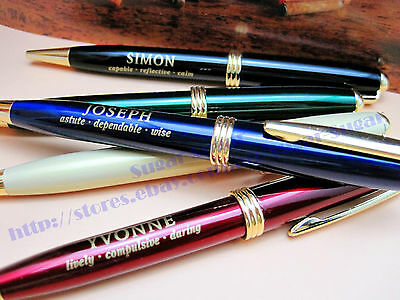 NEW Black Personalised Metal Ball Point Pen in Gift Box - Name with Meanings