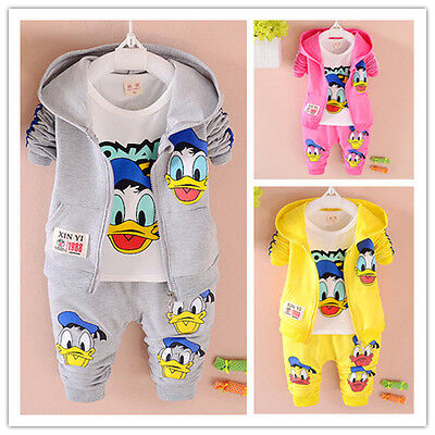 3Pcs Baby Boys Clothes Cartoon Donald Duck Hooded Outfits Toddler Infant Sets