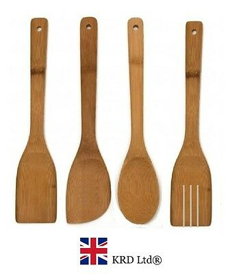 4 x BAMBOO SPOONS Wooden Spatula Spoon Kitchen Cooking Utensils Tools Turner Set