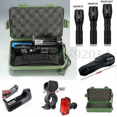 Elfeland 6000LM T6 Zoomable LED Flashlight 18650 Battery Charger Torch Lamp