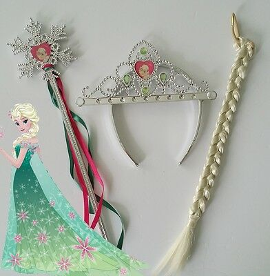 Frozen Fever Elsa Crown Wand and Wig 3PCS Costume Set