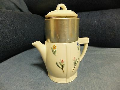 Vintage Porcelier China Drip Coffee Tea Pot Cute Flower Motif