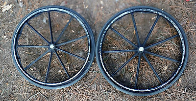 """2  24"""" InvaCare WheelChair Wheels W/ 5/8 """" axle, great for cart,wagon,no flats"""
