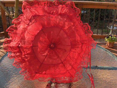 "Reduced in price- SZ.24""DIAM. VINTAGE 3"" RED LACE on RED (curved handle) PARASOL"