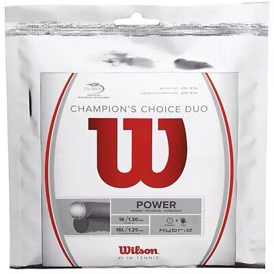 Wilson Champions Choice Duo Tennis String 16G 12.2M Sets Silver/natural Rrp £40