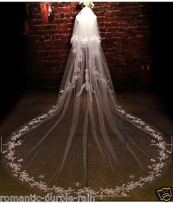 3M Cathedral veils  2T White/Ivory Bridal Vail lace Edge wedding veil +comb