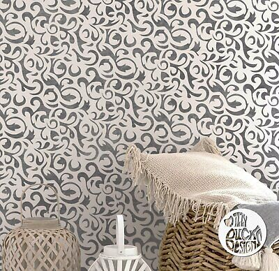 SAKARYA Damask Stencil - Furniture Wall Floor Stencil for Painting