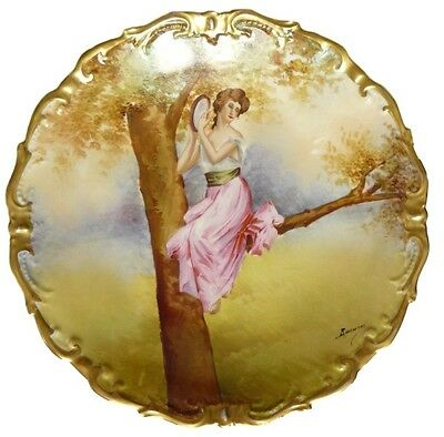 French Limoges Large Wall Painted Porcelain Plate Woman Tree Signed Bazanah