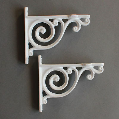"Pair WHITE 4"" SMALL ANTIQUE VINTAGE CAST IRON VICTORIAN SHELF BRACKETS - BR01Wx2"