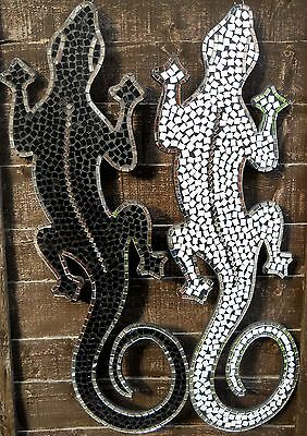 Beautiful Mosaic Handmade Ceramic Glass Tile Figure Lizards 80 cm Multi Colour