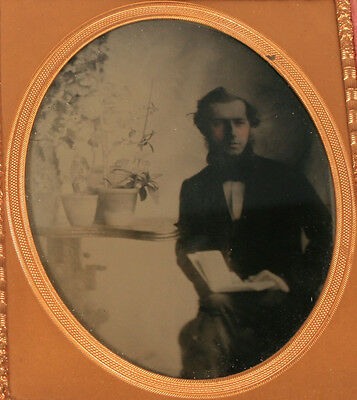 Botanist With Orchids. Antique Ambrotype Tinted, Lovely Composition.