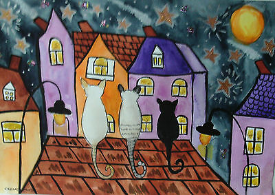 "Fridge Magnet,Cats gazing at the Stars  large Magnet  4.25"" by 5.5"""