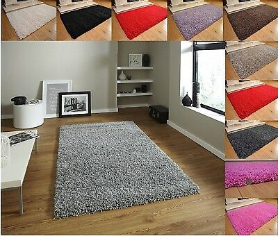 Soft Shaggy Thick Plain Rug Non Shed 5cm Thick Pile Modern Rugs Small-Extra Larg