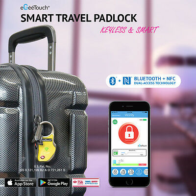 NEW eGeeTouch® Smart Travel Padlock, with (NFC&BT ), Vicinity Tracking ,Black
