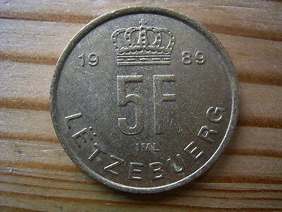 1989  Luxembourg 5  Franc Coin Collectable