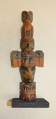 "Early Northwest Coast 10"" Totem Pole With Strong Carving & Great Paint"