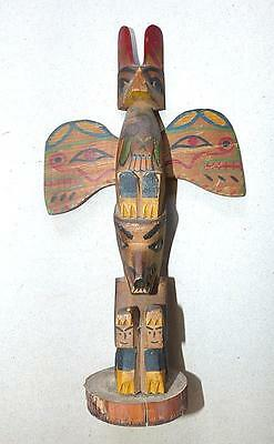 "Vintage Northwest Coast 10"" Totem Pole With Strong Carving & Good Paint"