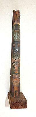 "Early Northwest Coast 10"" Totem Pole With Wonderful Paint"