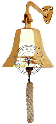 "7"" Nautical Hanging Door Decor Maritime Brass Ship Bell Wall Mounted Bracket"
