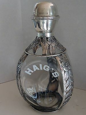 "Vintage ""HAIG & HAIG"" Whiskey Decanter with STERLING SILVER Casing"