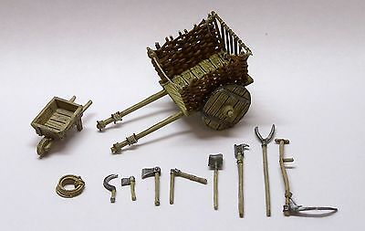 Minishire Scenery- 28-32mm Hay Cart & farming Tools. Wargames & RPGs. Metal