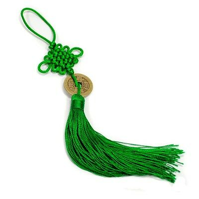 FENG SHUI FORTUNE COIN TASSEL GREEN Hanging Cure Balance Peace Healing Health