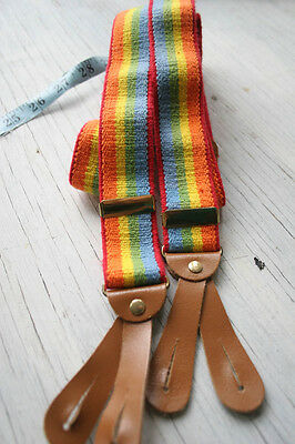 "Vtg Striped Suspenders Rainbow Colors 1 1/4"" Leather/Button Braces Mork n Mindy"