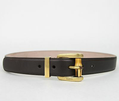 9ffcb7f59 New Gucci Women's Dark Brown Leather Belt w/Bamboo Buckle 80/32 339068 2140