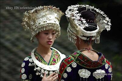 Tribal exotic chinese handmade miao silver headgear hat